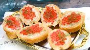 Фото рецепта Бутерброды с печенью трески и красной икрой