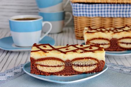 Шоколадный кухен с печеньем и пудингом