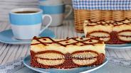 Фото рецепта Шоколадный кухен с печеньем и пудингом