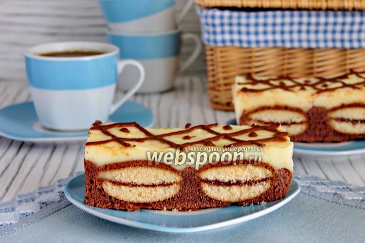 Фото Шоколадный кухен с печеньем и пудингом