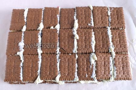Снова слой печенья. Для лучшей сцепки рекомендую сначала каждое печенье обмакнуть в крем одним боком, а потом прижать друг к другу. На подобие кирпичной кладки с раствором, так печенья не будут скользить при нанесении очередного слоя крема сверху.
