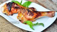 Фото рецепта Куриная голень начинённая кукурузой, корейской морковью и чесноком