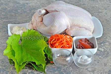 Для приготовления долмы из курицы вам понадобится сливочный сыр, томатная паста, перец чёрный молотый, соль, корейская морковь, курица и виноградные листья.