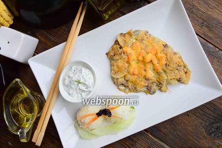 Тилапия с креветками под сырной корочкой