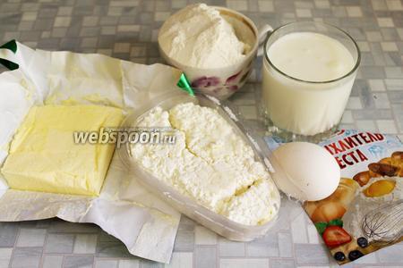 Для лепёшек нужно взять муку, кефир, яйцо, масло, творог, разрыхлитель, соль.