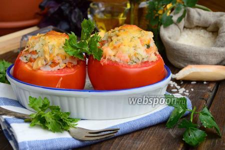 Запечённые помидоры с рисом и креветками