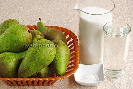 Для приготовления повидла нужно взять спелые груши (у меня сорт «Конференция»), сахар-песок, воду и лимонную кислоту.