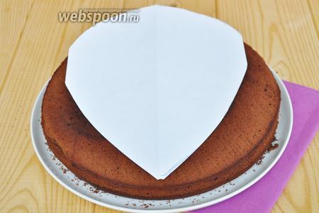Готовый бисквит разрезать вдоль на 2 коржа. Наложить форму капли и вырезать. Обрезки пойдут на формовку верха ёжика.