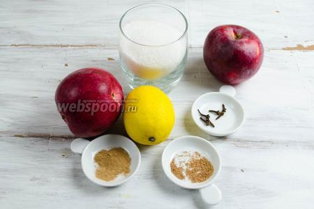 Чтобы приготовить яблочные джем и сироп, нужно взять яблоки (желательно, сочных сортов), сахар, лимон, пряности: молотые корицу и мускатный орех, несколько бутонов гвоздики.
