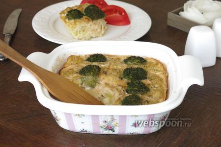 Овощная шарлотка с рыбой