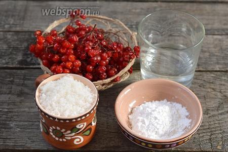 Для приготовления сладкого соуса из калины нам понадобится калина, вода, сахар, крахмал картофельный.