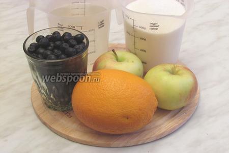 Для варенья нам понадобится сахар, вода, черноплодка, яблоки любые, лучше всего подойдут кислые сорта, но у  меня сладкие, апельсин.