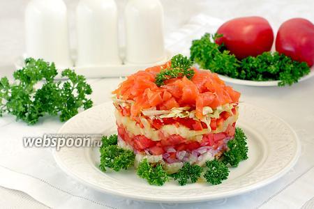 Салат с  форелью и овощами
