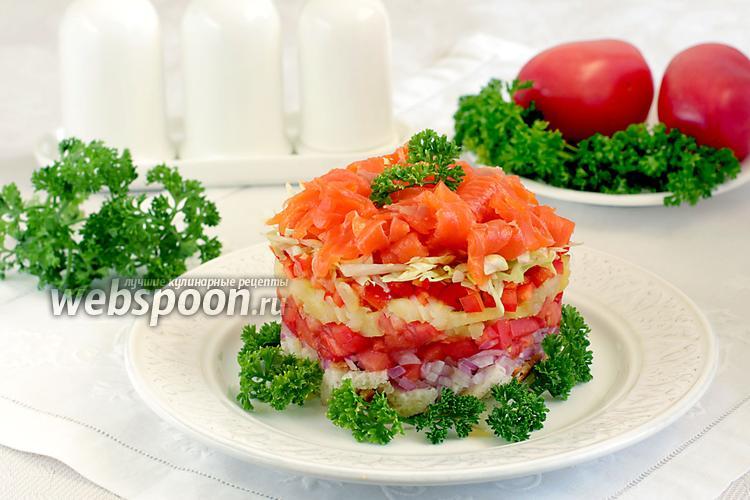 Фото Салат с  форелью и овощами