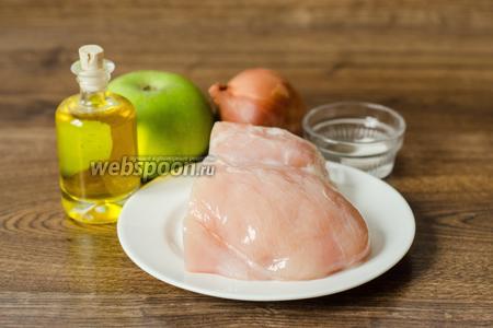 Для начала приготовим фрикадельки. Нам понадобятся куриное филе, яблоко кислое (у меня Семеринка), лук, соль и перец по вкусу, масло подсолнечное для жарки.