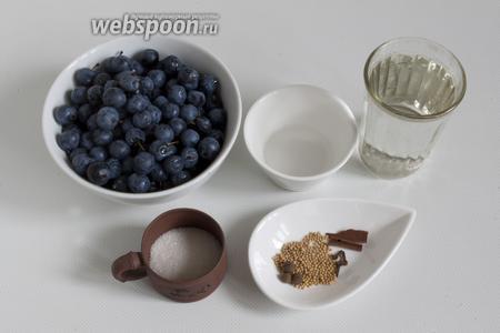 Подготовьте тёрн, воду, сахар, соль, горчицу в зёрнах, душистый перец, корицу (кусочки коры), гвоздику, уксус.