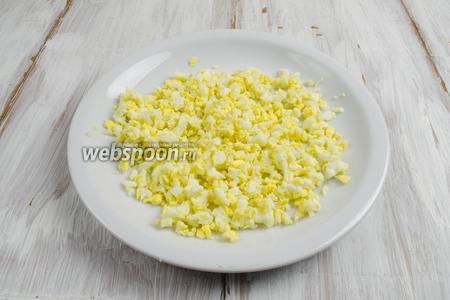 Яйцо отварить. Мелко нарубить яйцо кубиком.