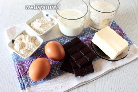 Для приготовления нам понадобятся яйца куриные, сахар, молоко, ванильный пудинг (в пачке 37 г), разрыхлитель, тёмный шоколад, масло сливочное и мука пшеничная.