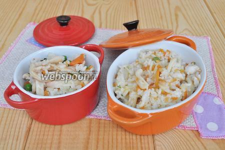Затем наш рис с кальмарами.