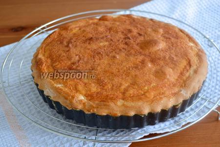 Готовый пирог достать из духовки. Остудить на решётке. Уже полностью остывший пирог извлечь из формы и переложить на сервировочное блюдо. Подавать остывшим.
