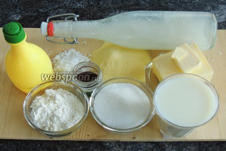 Подготовим ингредиенты: манную крупу, кокосовую стружку, масло сливочное, сахар и ваниль, муку,  кокосовый сироп  готовый или приготовленный самостоятельно и лимонный сок.