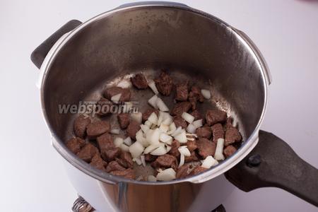 Мясо обжариваем в толстостенной кастрюле, в предварительно растопленном животном жире, на сильном огне до лёгкой коричневатости, потом засыпаем лук.