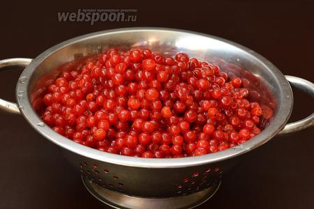 Спелую калину тщательно вымить прямо на кистях, чтобы избежать потери сока. Потом оборвать ягоды, удалить веточки и испорченные ягоды.