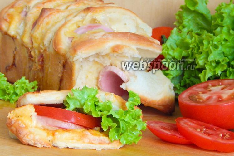Рецепт Холостяцкий хлеб-бутерброд с колбасой и сыром