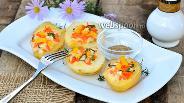 Фото рецепта Фаршированный картофель кукурузой, корейской морковью и огурцами
