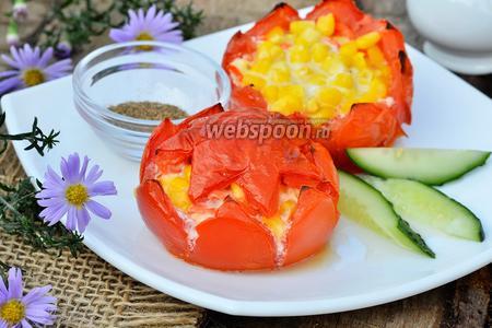 Помидоры начинённые корейской морковью и кукурузой