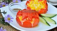 Фото рецепта Помидоры начинённые корейской морковью и кукурузой