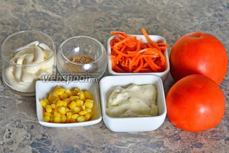 Для приготовления начинённых помидор вам понадобится сыр сливочный плавленый, морковь корейская, помидоры, кориандр, кукуруза консервированная и майонез.