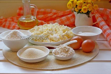 Для приготовления сырников нам понадобится хороший сухой творог, яйца куриные небольшого размера, кокосовая  стружка, манная крупа, сахар, экстракт ванилина, щепотка соли, мука для обваливания сырников и масло растительное для жарки сырников.