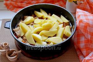 Выложить картофель к тушёному мясу, присолить и приправить по вкусу, накрыть крышкой и готовить 20 минут на медленном огне. Если необходимо, то можно добавить ещё немного воды.
