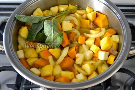 Через 5 минут положить яблоки и веточку шалфея целиком. И через несколько минут залить овощи горячим бульоном (или водой), примерно на 3/4 объёма... Поэтому ориентируйтесь сами по количеству необходимого бульона, я указала примерно 500 мл. Посолить и поперчить по вкусу.