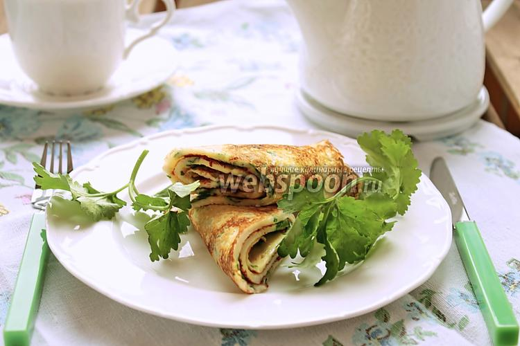 Фото Блинчики с кинзой и сыром
