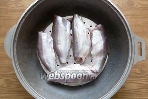 Немного смажем решётку растительным маслом и разложим рыбу.