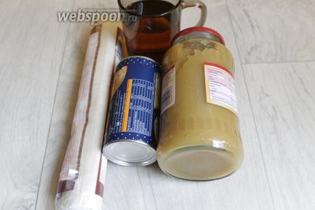 Итак, возьмём слоёное тесто, яблочное пюре, сок яблочный, сахар, желатин.