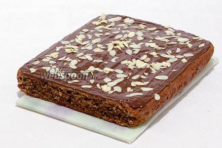 Можно полить шоколадом и посыпать миндальными лепестками. Высота пирога 4,5 см. Приятного чаепития!