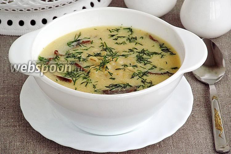 Фото Суп из перловой крупы с грибами и лимонным соком