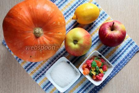 Для приготовления запечённой тыквы нам понадобится тыква, яблоки, цукаты, лимон, сахар, масло растительное и масло сливочное.
