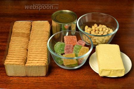 Для приготовления пирожных нам понадобится обычное печенье (у меня со вкусом топлёного молока), сливочное масло, сгущённое молоко, очищенный миндаль, мармелад.