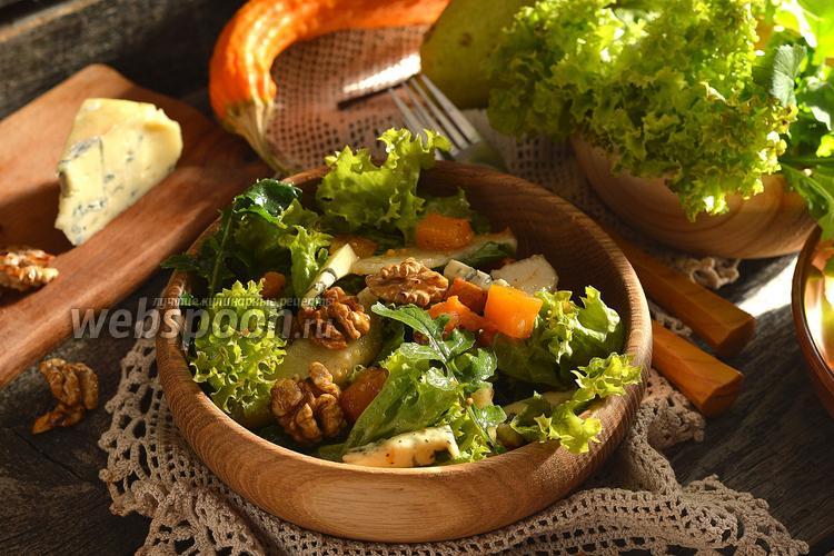 Фото Салат с запечённой тыквой, рукколой и орехами