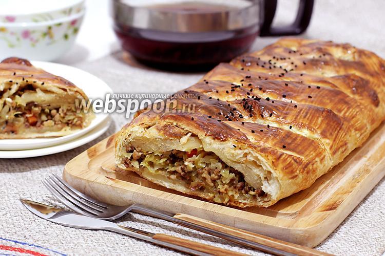 Фото Кулебяка с мясом и капустой