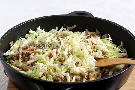 Затем добавить тонко нарезанную капусту. Слегка всё обжарить. Влить 1 стакан воды, немного подсолить, добавить специи, закрыть крышкой и тушить на медленном огне до размягчения моркови и капусты.