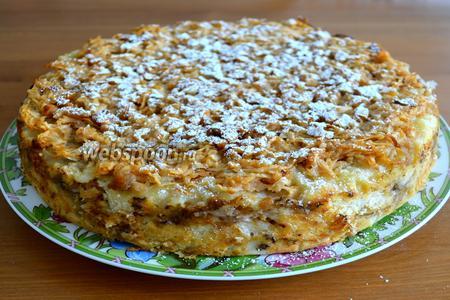 Поставить пирог выпекаться в разогретую духовку на 50 минут, до зарумянивая верха пирога. Готовый пирог остудить на решётке и извлечь из формы! Можно присыпать сахарной пудрой и подавать к чашечке чая! ;))
