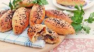 Фото рецепта Пирожки в духовке с салями и сыром