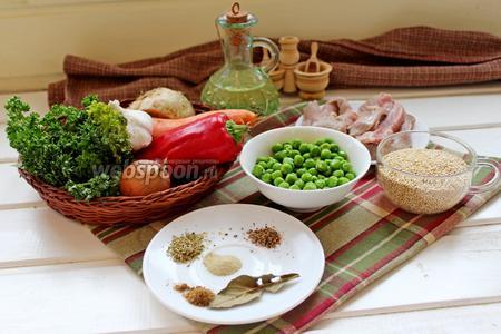 Для приготовления супа нам понадобится киноа, говядина, овощи, масло растительное для жарки, специи и зелень.
