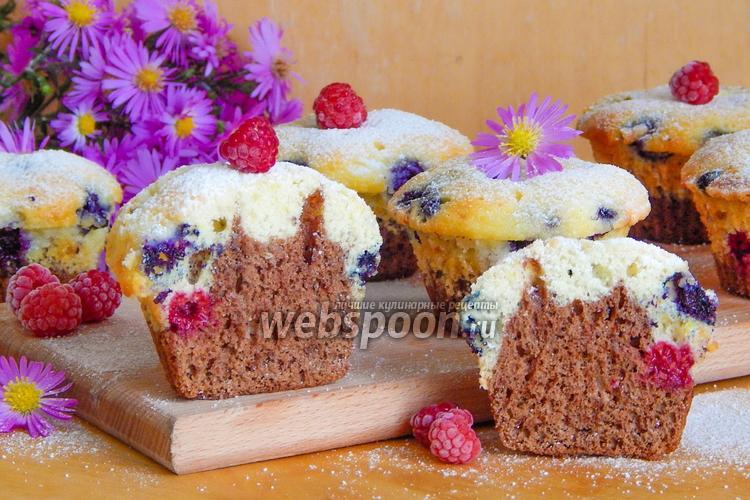 Фото Маффины с маскарпоне и ягодами