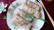 Фото рецепта Спринг-роллы с рисовой лапшой и копчёнными креветками